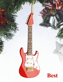 Broadway Gifts Holiday Ornament with Decorative Packaging - Electric Guitar Red