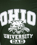 Ohio University Attack Cat Dad T-Shirt, Print Detail