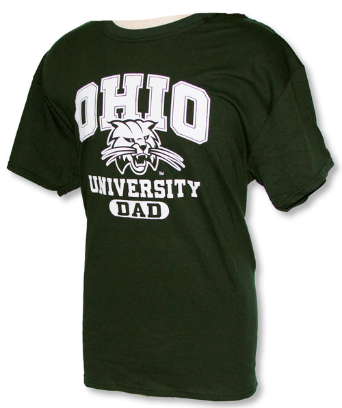 Ohio University Attack Cat Dad T-Shirt, Hunter Green
