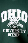 OU Attack Cat Dad Green Crew Sweatshirt - Imprint Detail