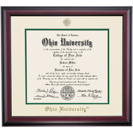 Ohio University Traditional Style Diploma Frame for Ph.D. and D.O. - Ivory/Hunter