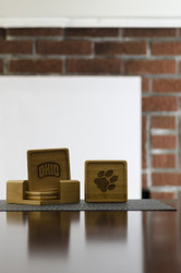 Protect your wood surfaces and host with style using this set of 4 square, wooden coasters. Each set includes 2 paw prints and 2 arched OHIO logos.
