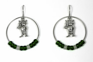 Sterling Silver Bobcat Hoop Earrings with green and white glass beads