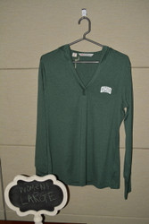 Green V-neck Long Sleeve