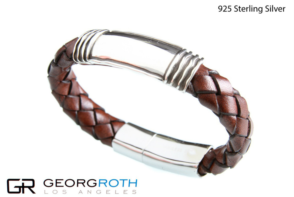 The ID 925 Sterling Silver Bracelet with brown woven leather from Germany  Made in USA length: 21 1/5 cm