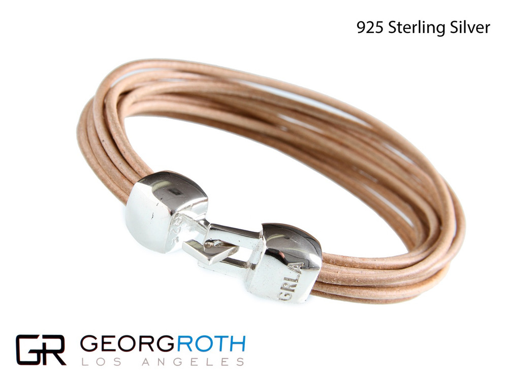 The Braid 925 Sterling Silver Bracelet with beige leather strings from Germany  Made in USA length: 21 1/5 cm wide: 10 millimeter