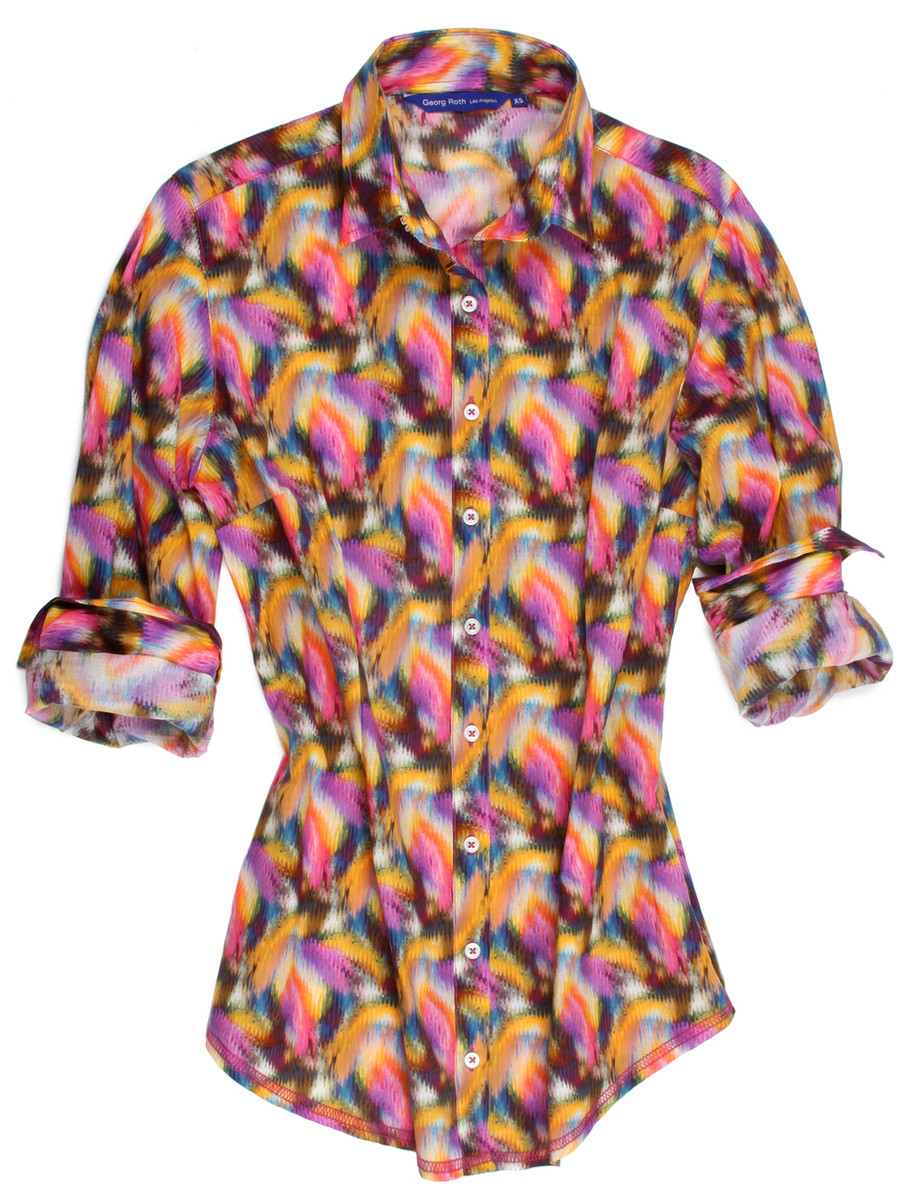 Long Sleeves-Printed-Cotton-Women-Blouse 100% Cotton