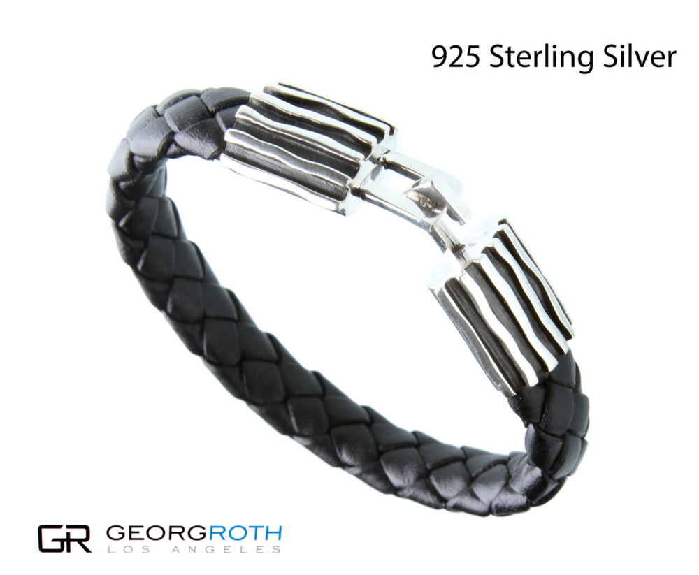The Wave 925 Sterling Silver Bracelet with black woven leather from Germany  Made in USA length: 9 inc wide: 15 millimeter