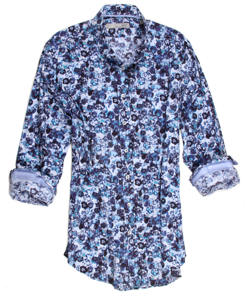 """Style, fashion, color all wrapped up in one.  You will look your very best and feel your very best in this most handsome print of blue tones on a white ground with a fantastic strech.   100% cotton imported European fabric, completely washable and exquisitely tailored to fit to perfection.  The collar is a button down and the hem line is finished off in a double zig-zag stitching.  Perfect for wearing as it is or with a Tee Shirt it is a """"must have"""" for any wardrobe.  97% Cotton 3% Elasthane"""