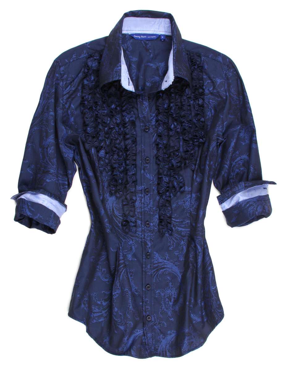 """Georg Roth boasts of his devotion to """"Fashion, Fabric and Fit"""" and this is only one example of his varied styles.  Beautiful in Blues is this very subtle pattern and it has several embellishments to even further enhance this lovely look.  The small ruffles lend itself to an eloquent tuxedo appearance and the collar stand and cuffs, when rolled are in a companion pattern of a lighter blue delicate print.  The fabric is our imported European 100% cotton and the hem line is finished in a double zig-zag stitching .  Very special and certainly high-styled.  You will be the hit of the party. 100 Cotton"""