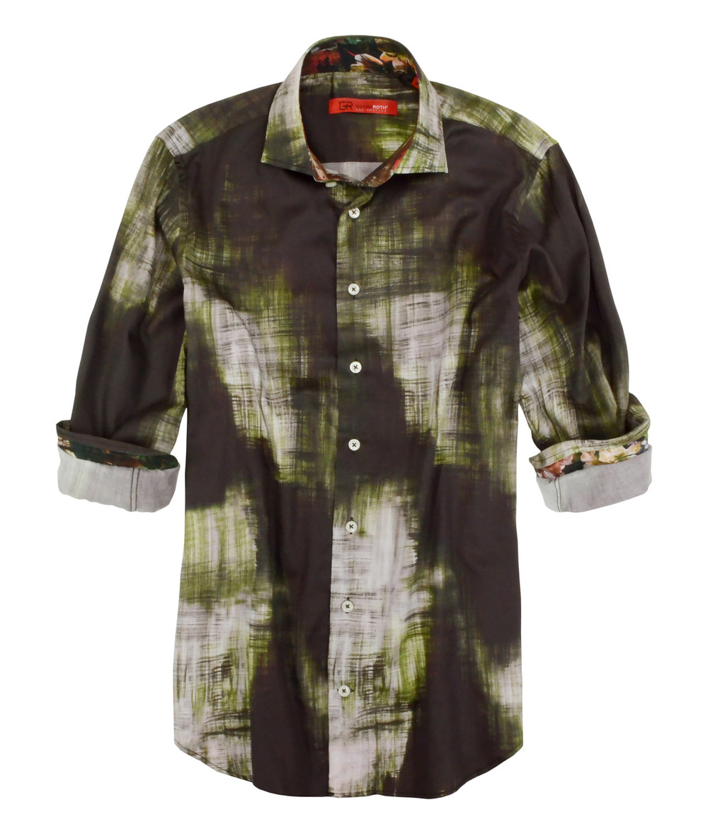 "From our ""Art Collector Series"" Georg Roth has designed this handsome and stunning, amazingly super soft 100% imported European cotton shirt.  More than just any shirt you will find it is a work of art.  Beautiful tones  of Olive, with shades of green, brown and off white. The contrast in the collar and cuffs are a brilliant print in autumn shades of rust, green and gold to embellish this wonderful high style look.  It has a spread collar and is slightly tapered to fit to perfection and comfort.  Daytime or evening, it will take you anywhere and is most definitely a feel great shirt. 100% Cotton"