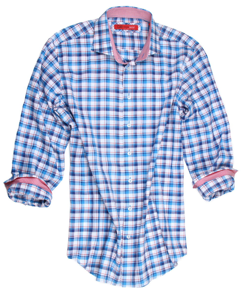 """A marvelous mix of Red, White and Blue.  Anytime, anywhere, morning, noon or night you can't go wrong with this very flattering plaid.  A mini Red and White check adorns the collar stand and cuffs to complement this great look.  It goes with any pant or Jean and will be an absolute """"eye catcher"""" for any occasion. 100% Cotton"""
