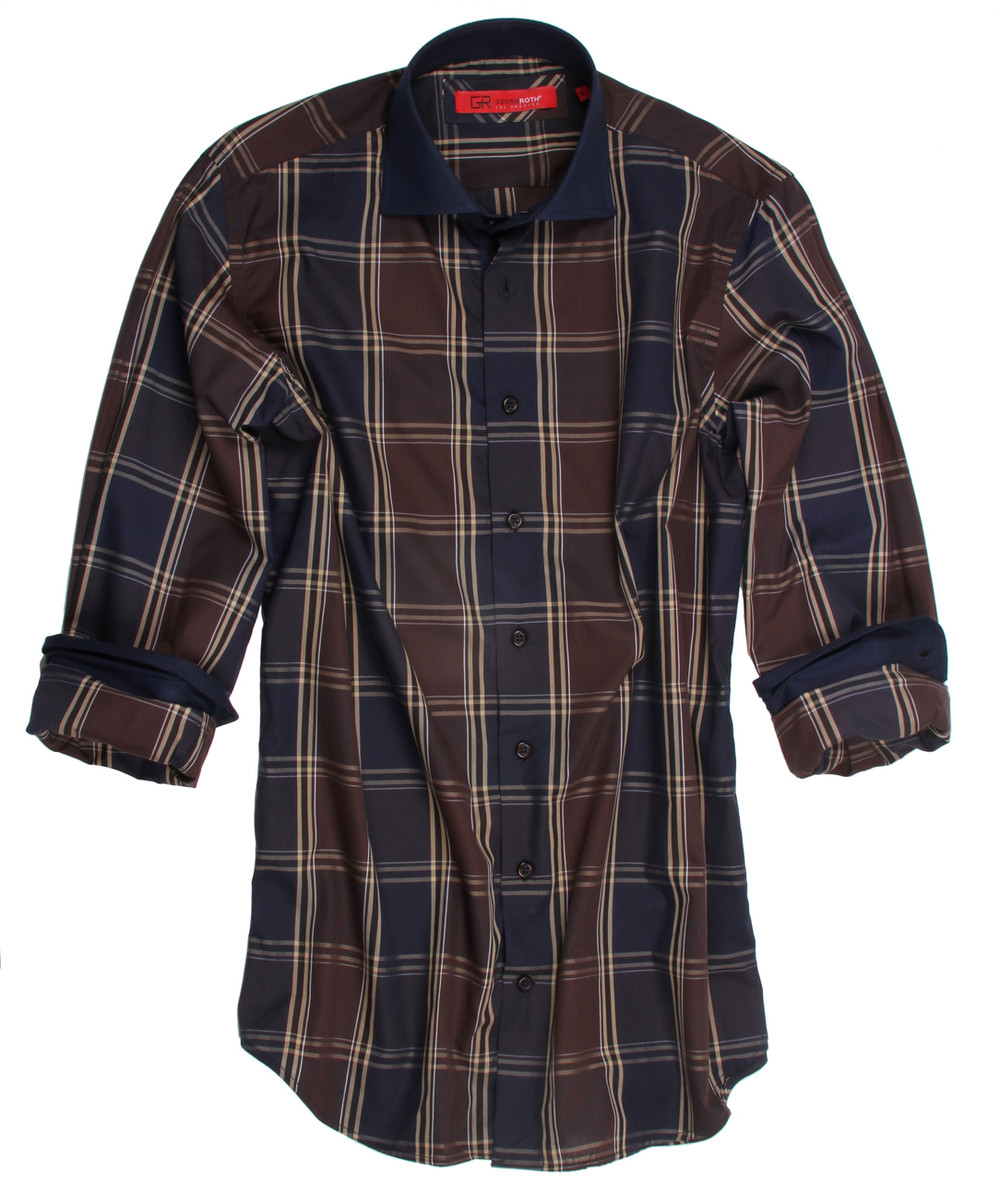 Brown, beige and dark blue plaid. Detailed with a classic dark blue contrast on the whole collar, cuffs and inside front placket. All seams done to perfection with contrast stitching in dark blue. 100% Cotton