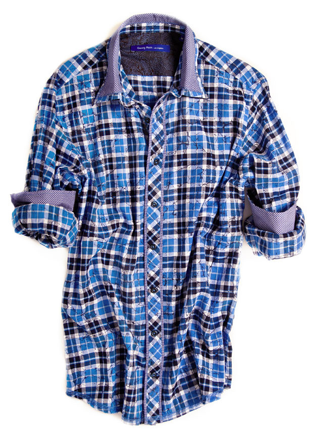 Shades of blue & white plaid. Detailed with a classic blue & white contrast on the collar, cuffs and on front placket piping. All seams are done to perfection with contrast stitching in blue. 100% Cotton