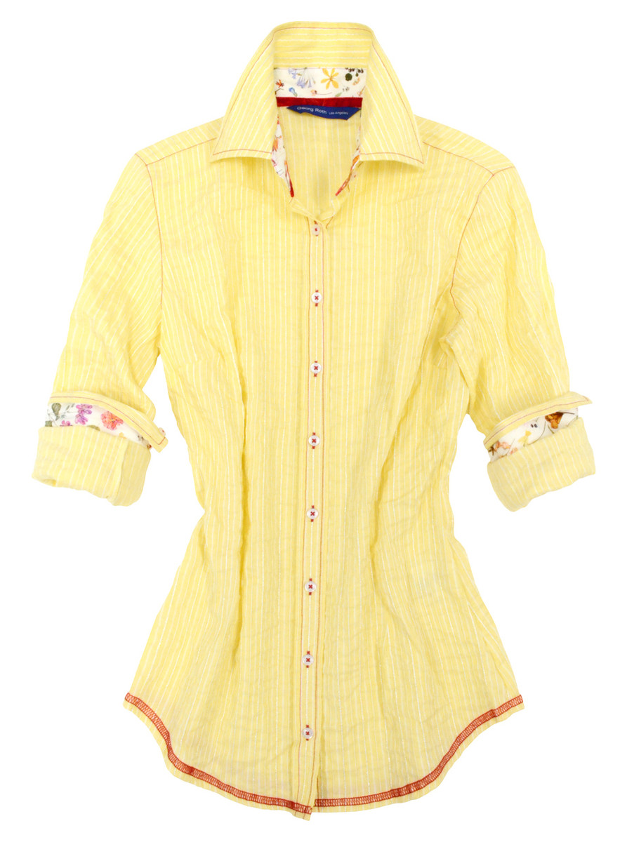 Yellow and white-metallic stripe. Contrasted with a Liberty of London multicolor floral print inside the collar and cuffs. All seams are done to perfection with contrast stitching in red.. 71% Cotton / 28% Poly / 1% Metal fibre