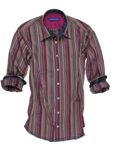 Powerful stripes with attention to detail. The vibrant magenta and sand stripes are contrasted with a grey-blue fantasy print inside the collar and cuffs. Detailed with a magenta solid contrast inside the front placket and inside saddle. All seams are done to perfection with contrast stitching in grey-blue.