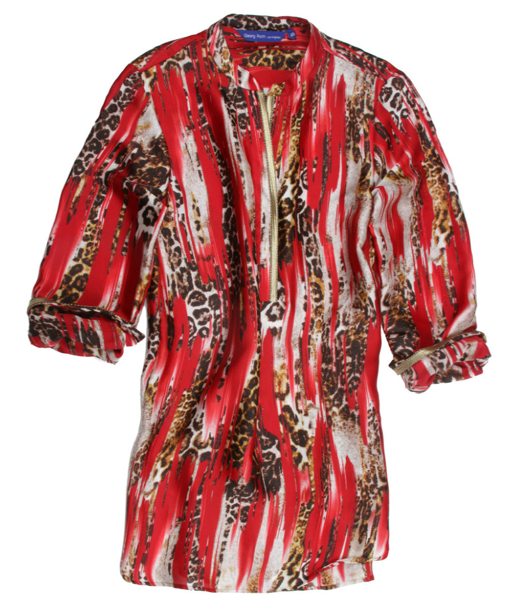 Smooth as silk. Fun and yet elegant pullover blouse in Red, black and brown animal print. Detailed with a gold trim on neckline. Dress it up or casual with leggings. 100 Silk