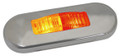 Lucidity Red/Amber Flush Mount LED Marker Light with Clear Lens & Stainless Steel Cover