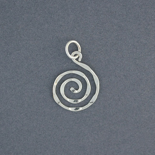 Sterling silver small hammered spiral pendant green river silver co image 1 aloadofball Images