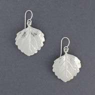 Sterling Silver Textured Leaf Earrings