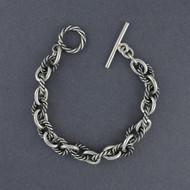Sterling Silver Antiqued Rope Link Bracelet