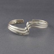 Sterling Silver Three Wave Cuff