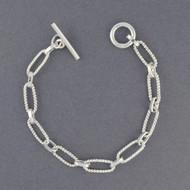 Sterling Silver Twisted Ovals Link Bracelet