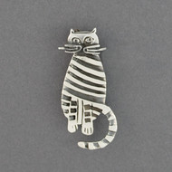 Sterling Silver Striped Cat Pin