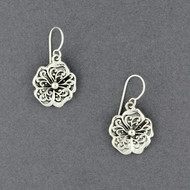 Sterling Silver Antiqued Flower Earrings