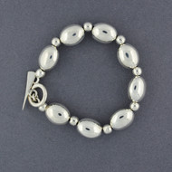 Sterling Silver Oval and Sphere Bracelet