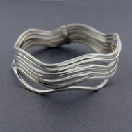 Sterling Silver Layered Wavy Bangle