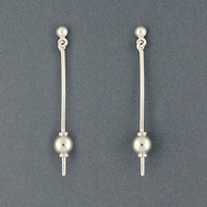 Sterling Silver Long Sphere Earrings
