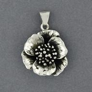 Sterling Silver Antiqued Flower Pendant