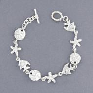 Sterling Silver Sea Life Link Bracelet