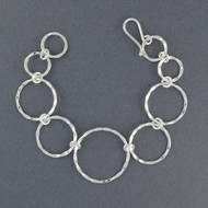 Sterling Silver Hammered Graduated Circle Link Bracelet