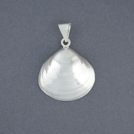 Sterling Silver Large Quahog Shell Pendant