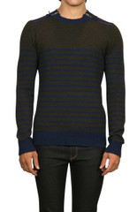 Axel Stripe Knit Military/Navy