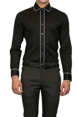 Jake piped collar Shirt Black