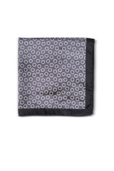 Ned Quad Panel Pocket Square Black/Silver