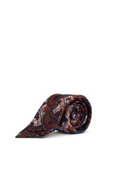 Reid Check Paisley Tie Navy/Orange