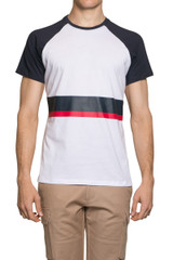 Roxo Block Stripe Tee White