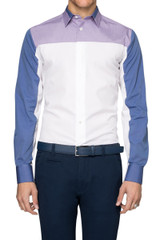 Roman Multi Panel Shirt Blue/Beige