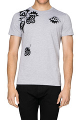 Rick Embroidered Tee Grey Marle