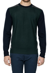 Alfie Panelled Crew Knit Green/Navy