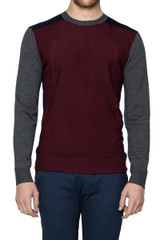 Alfie Panelled Crew Knit Green Burgundy/Grey