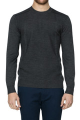 Alfie Panelled Crew Knit Charcoal