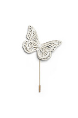 Leather Butterfly Lapel Pin White