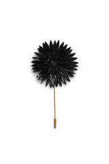 Leather Carnation Pin Black