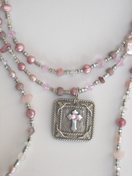 "PINK 36""Treasure necklace with detachable Pendant. A lovely mix of pearls, crystals, stones and beads. SHOWN HERE: 1 necklace doubled around with detachable pendant. $95 1 necklace long-no pendant-$60"