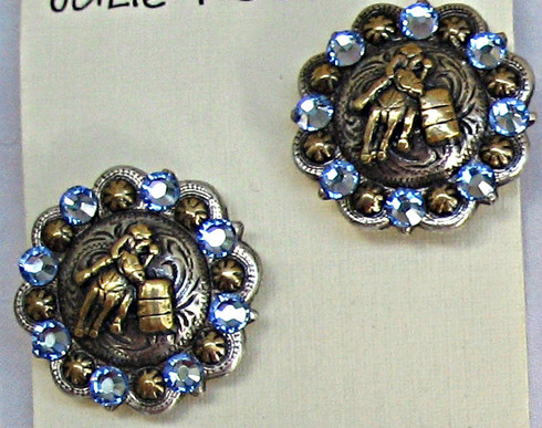 """1"""" Round Mixed metal Barrel Racer Earrings. SWAROVSKI crystals shown in Lt. Sapphire. Available in all colors. Surgical Steel posts."""
